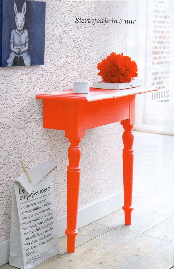 Table cut in half and painted. Use mounting brackets to stabilize. Great use of