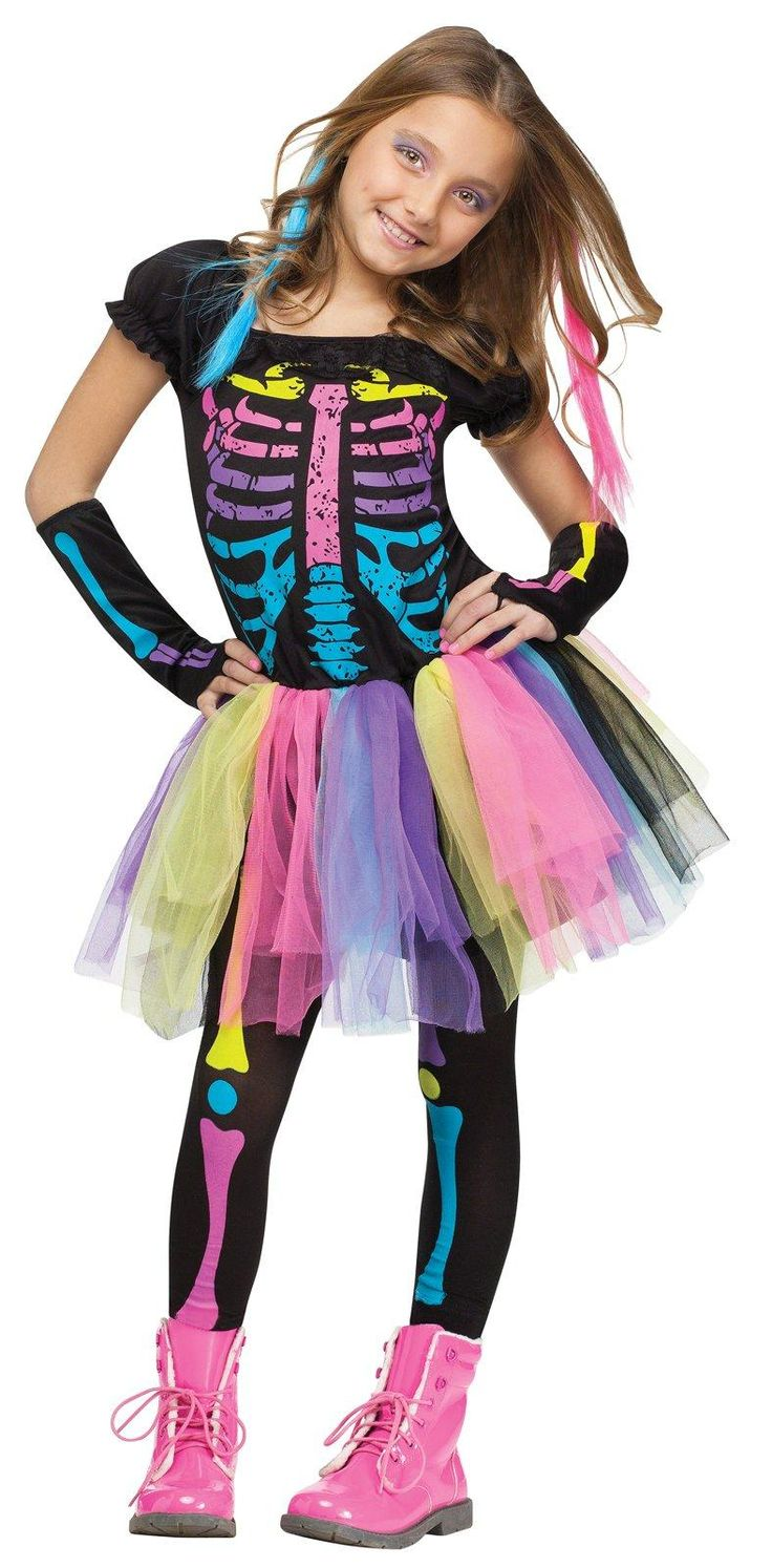 Funky Punk Skeleton Child Costume Children, Girls and