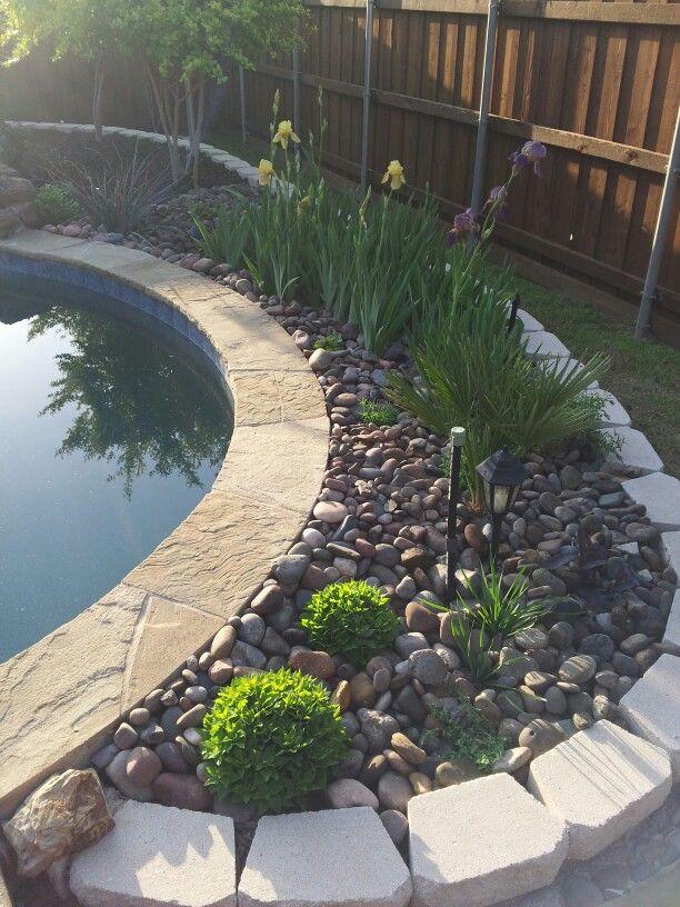 Rock Garden/Flower Bed Behind Pool Backyard Oasis