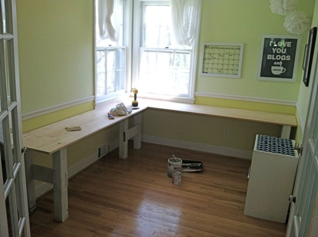 ... shaped desk like this for my tiny art room. She did a great job
