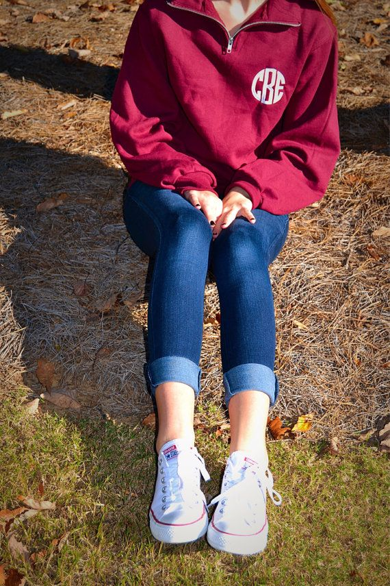 1/4 Zip Monogrammed Pullover in Navy w/ Fantasia Pink or Maroon w/ Snow White (Small)
