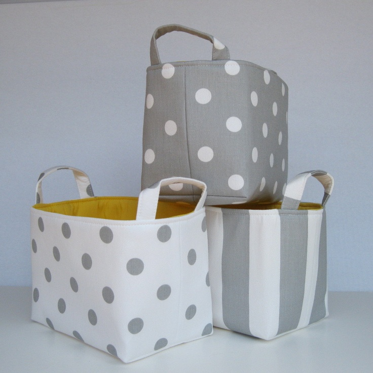 Fabric basket organizer storage container bin gray with