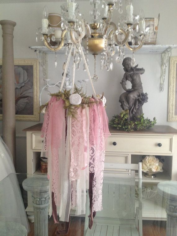 Rustic Wedding Decor Vintage Lace Chandelier Shabby Chic