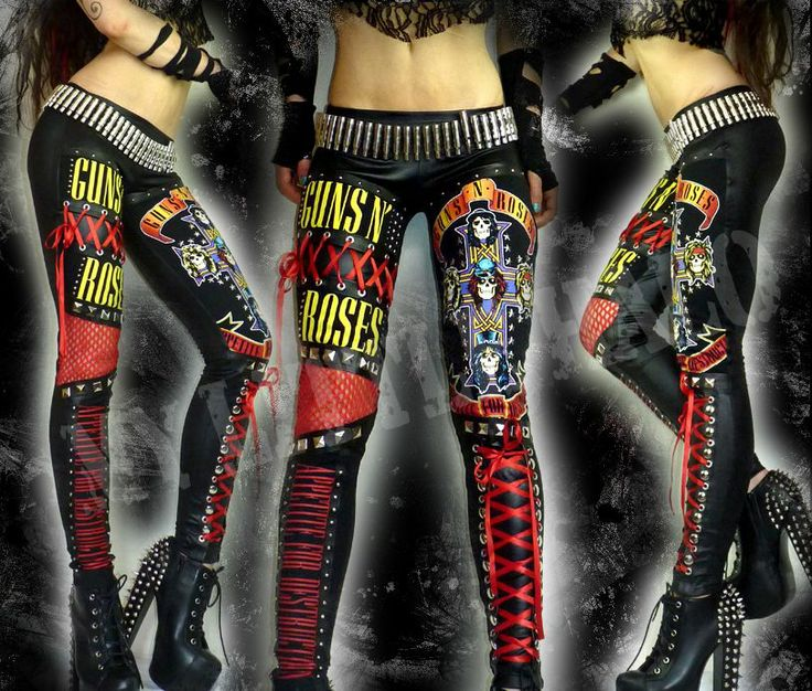One of a kind Guns N' Roses studded rock chick leggings in