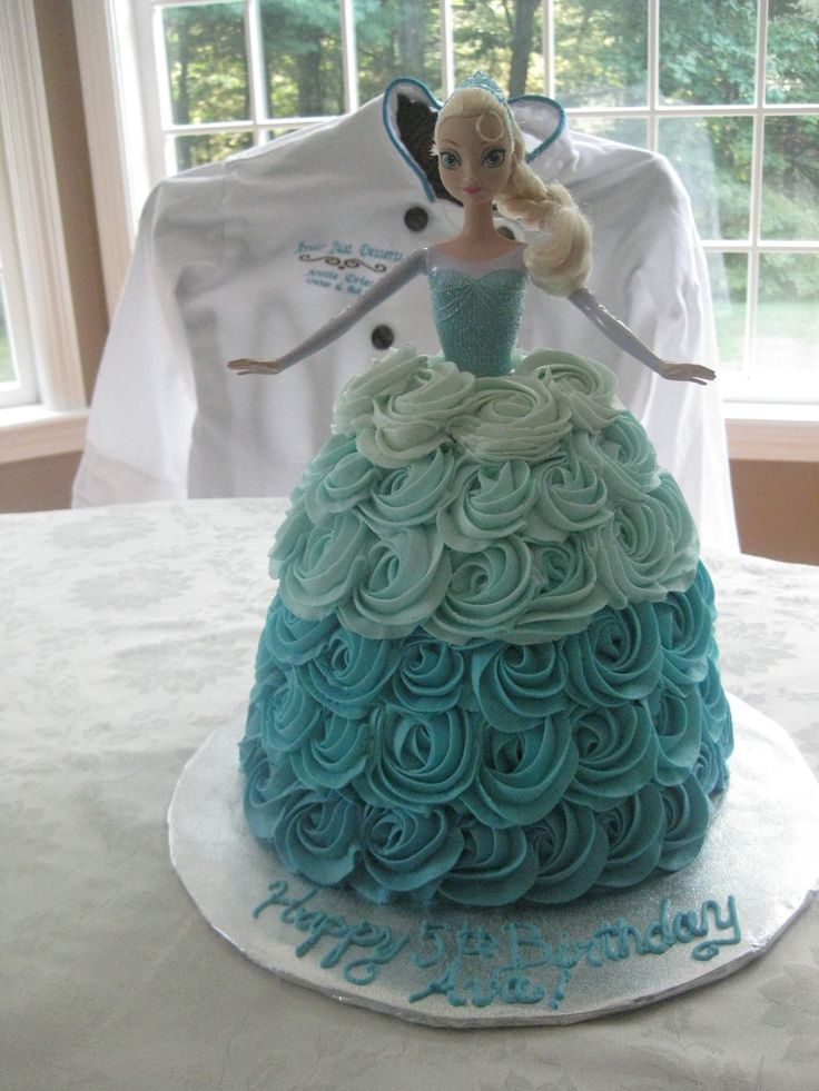 Another View Of The Elsa Cake With Teal Ombr 233 Rose Effect