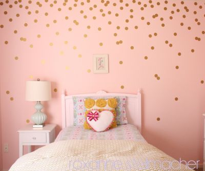 Another example of a pattern over even spacing with polka dots… Step-by-step DIY gold polka dot walls!
