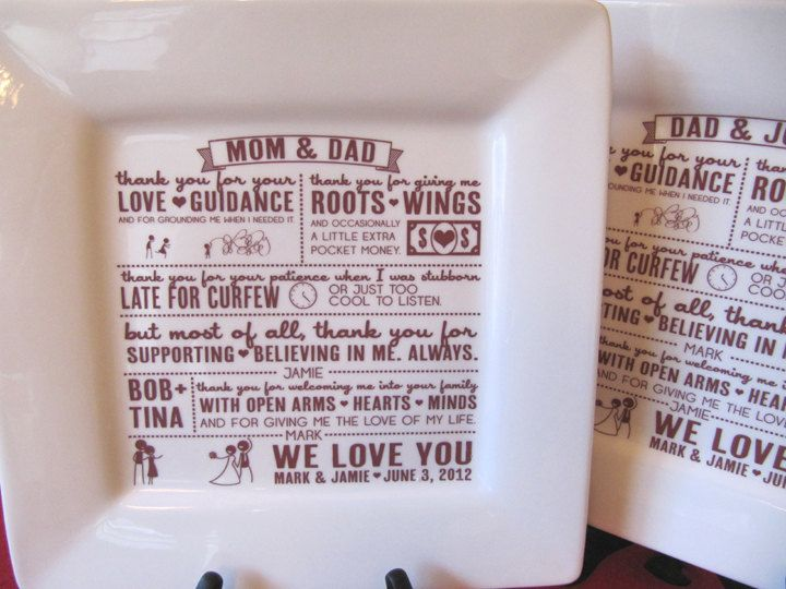 Parent Wedding Gift--Thank You Platter From Bride And