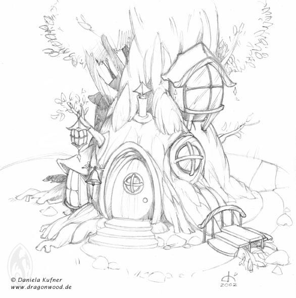 fairy tree house drawings  google search  adult coloring