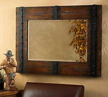 Rustic Wood Frame Mirror Google Search Bathroom