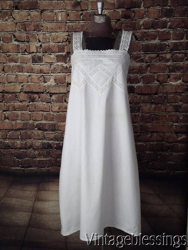 Edwardian Victorian Cotton Chemise Nightgown Antique