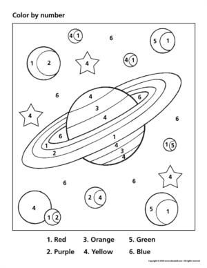 space color by number prek colouring pages pinterest space theme