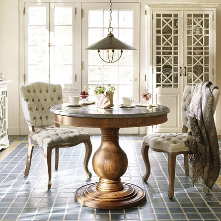 Luca 54 Round Pedestal Dining Table With Bluestone Top In