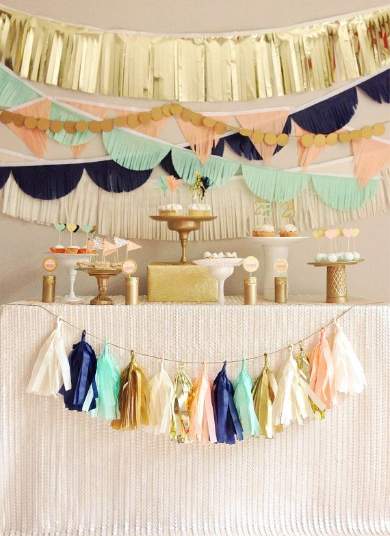 Tissue Garland Party Backdrop || Tissue Garlands || Peach, Mint, Navy and Gold
