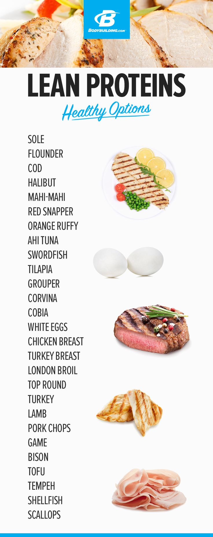 LEAN PROTEIN HEALTHY OPTIONS! Every food item you need