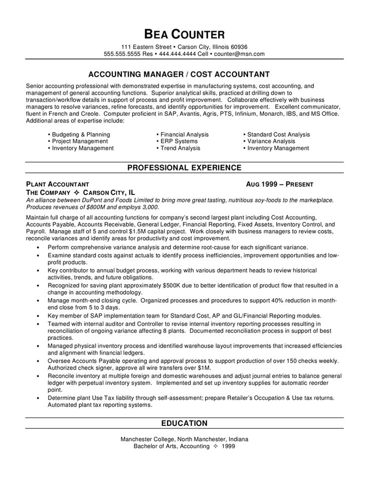 Sample Resume Accounting No Work Experience http//www