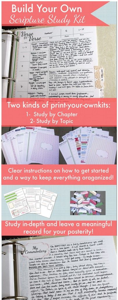Build your own scripture study kit! There are two kind – study by chapter or study by topic! And you can just print them!