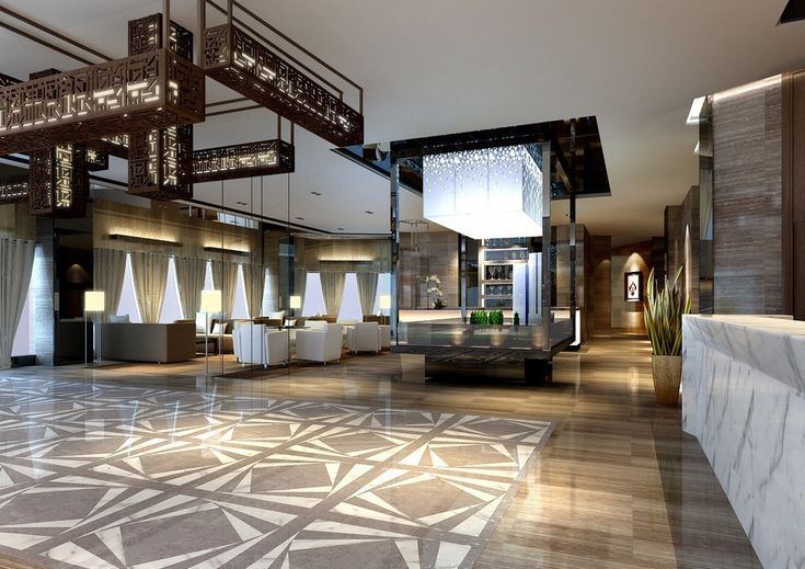 Fashion Contracted Hotel Lobby Design HD Wallpapers