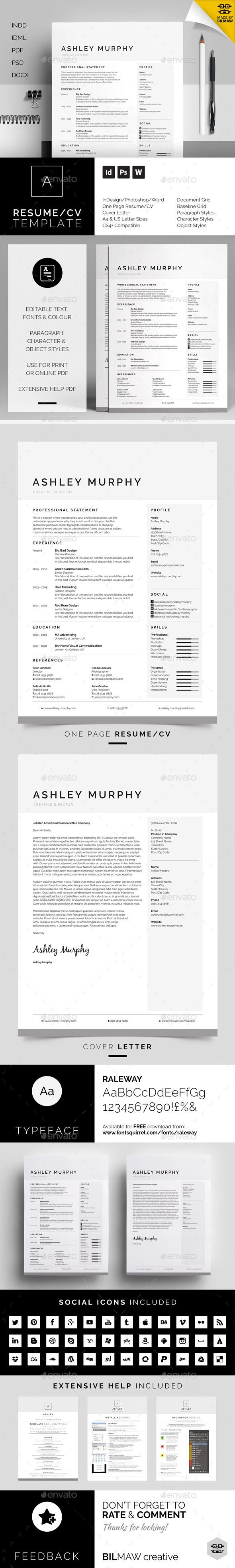 Resume/CV Ashley Design, Cover letter template and