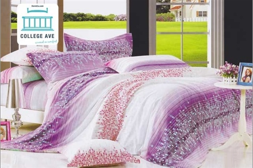 Our Cosmic Dreams Twin XL Comforter Set Features Spheres Of Light Blue And Red That Collide Amid