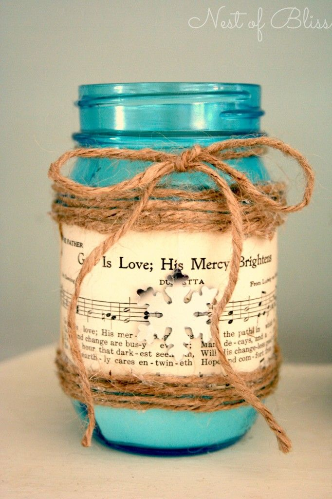 DIY Sheet Music Mason Jar Candle holder put Epsom salts