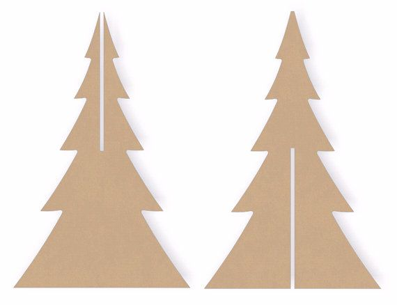 two sets of 12 inch tall interlocking standing wooden christmas tree
