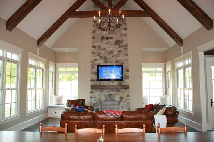 Living Room Fireplace High Ceilings Leather Couch Love