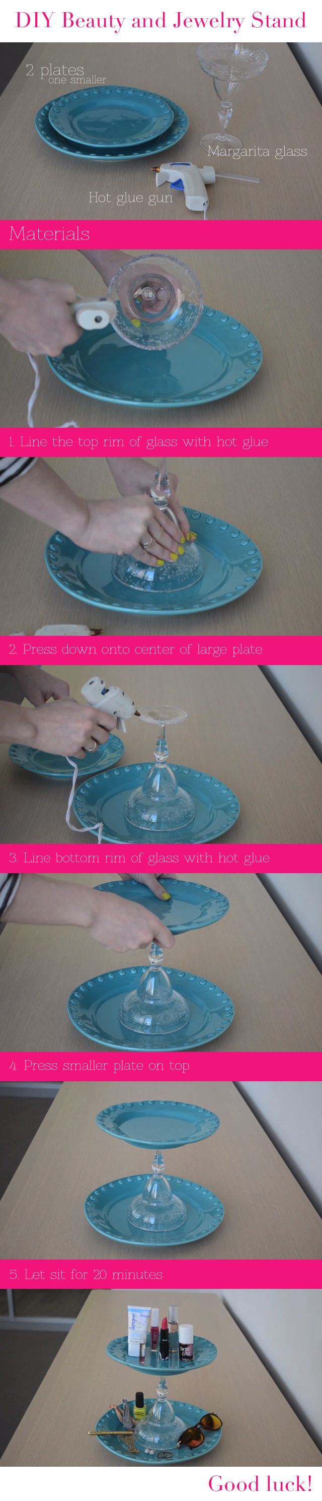 How to create your own makeup or jewelry stand using plates and a margarita glass!