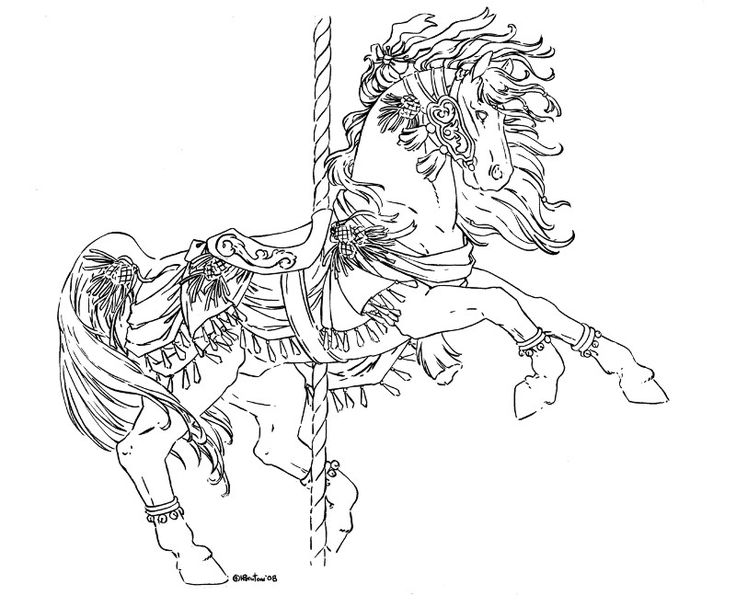 Carousel Unicorn Coloring Pages Sketch Coloring Page