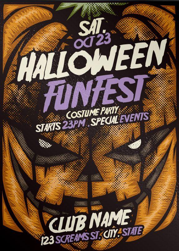 Free Pumpkin Halloween PSD Flyer Template http