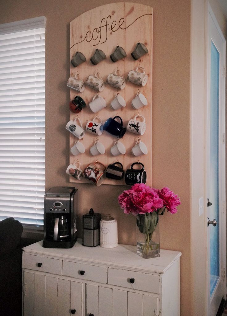 coffee station with wall mounted mug rack Kitchen