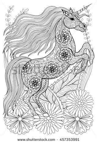 Zentangle Stylized Unicorn With Flowers Hand Drawn Ethnic