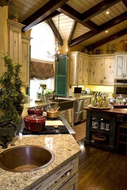 Modern French Country Kitchenexposed Beams Distressed Wood Cabinets Stucco Walls