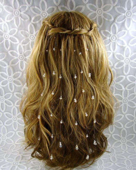 6 EXTRA Sparkly Swarovski Crystal Hair Extensions Pearl