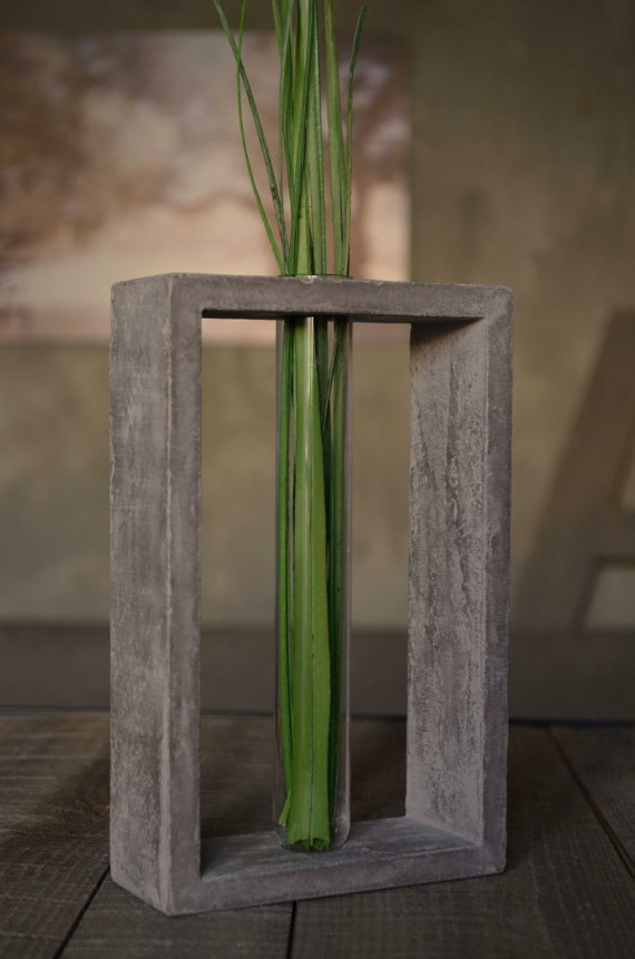 Transparent Glass Tube Vase In Grey Concrete Stand 25