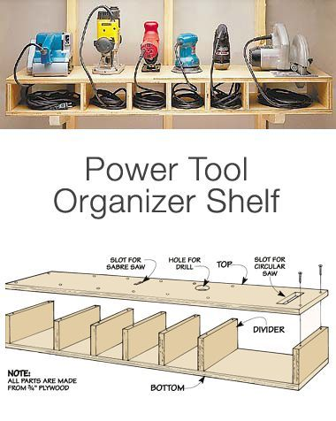 "Garage Storage on a Budget • Ideas and tutorials, including ""how to make an organizer tool shelf"" by Woodworking Tips…"