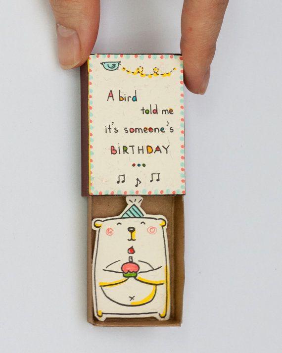 Geburtstagskarte, Geburtstagswunsch in einer Streichholzschachtel – Ein Vogel hat