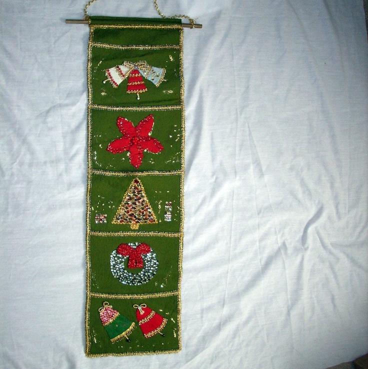 Vintage Christmas Card Holder Decoration Green Beautiful