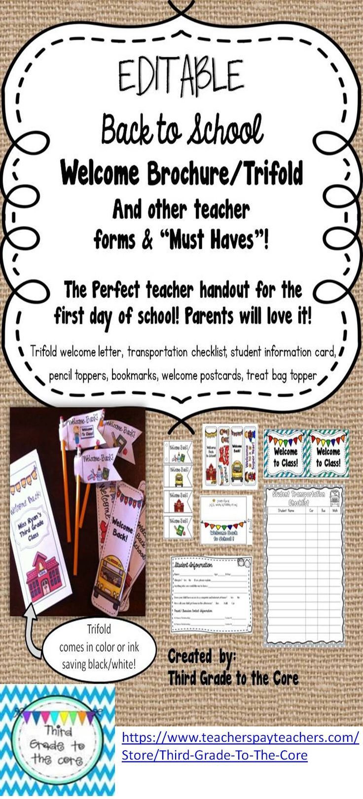 Back to School Letter Trifold Brochure Back to
