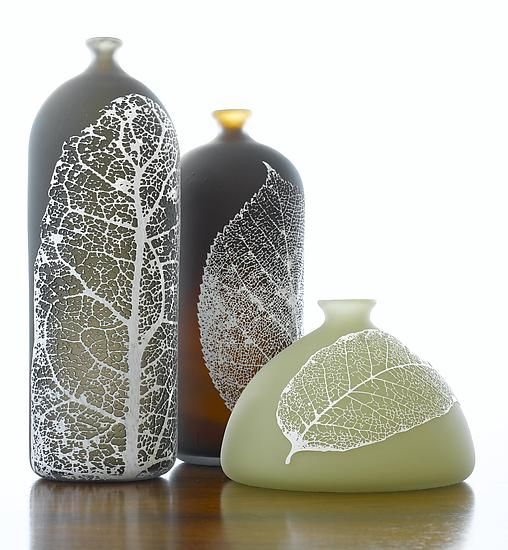 """""""Leaf Bottles""""  Art Glass Vase    Created by Nick Chase  Using a photo resist, t"""