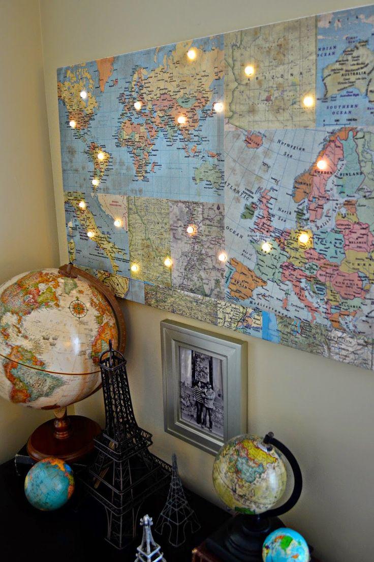 Hazel & Ruby Blog DIY World Map with Lights >>> New