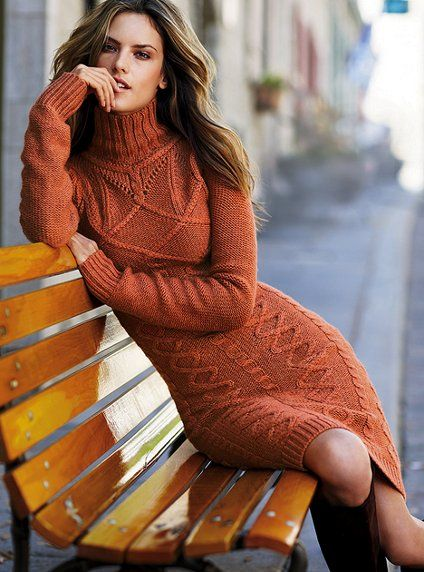 I want more cable-knit sweater dresses. Especially in warm fall colors. This one's great... fitted, but not clingy. Chunky, but not more-sweater-than-you-need chunky.: