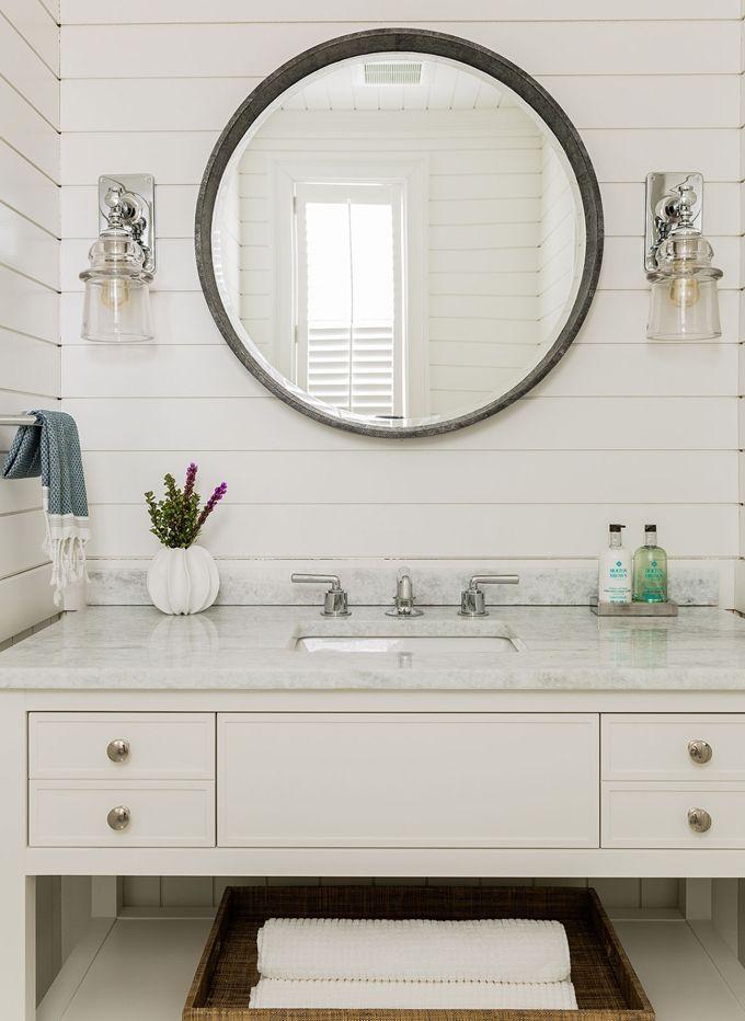 White Coastal Bathroom With Shiplap Walls Jennifer Palumbo Bathroom Love Pinterest House