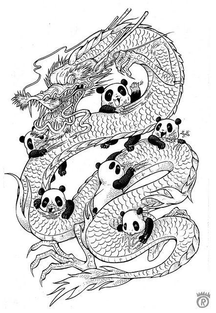 Pandas And Dragons Illustration General Pinterest