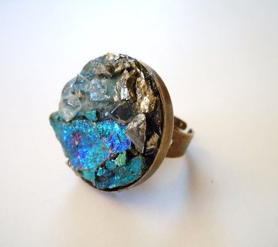 Peacock Ore Ring Raw Stone Cluster Ring Blue Topaz