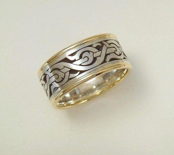 Mens Wedding Band Nordic Ring Viking Ring Mens Ring