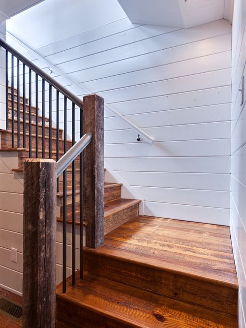 Rustic Wooden Stairs Shiplap Walls R A I L I N G S S