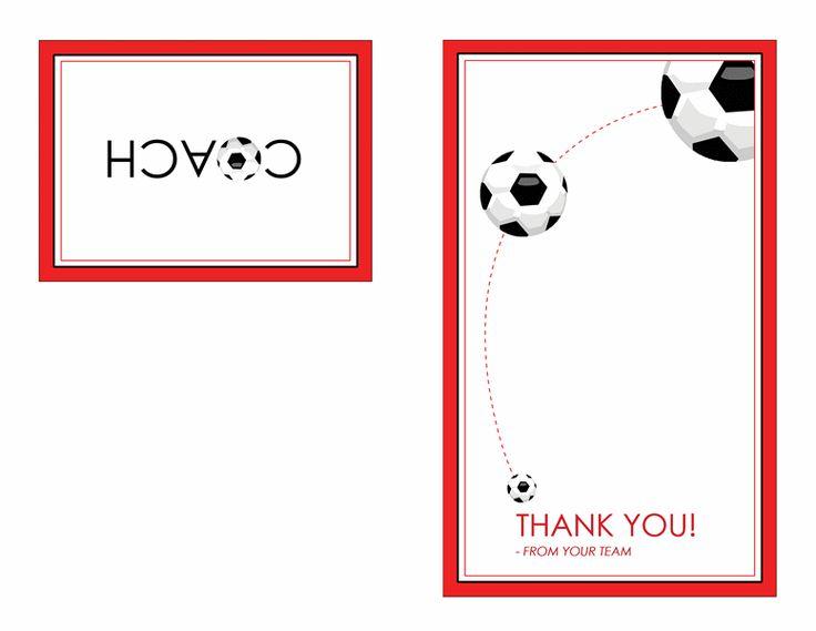 Thank You Card For Soccer Coach Quarter Fold Templates