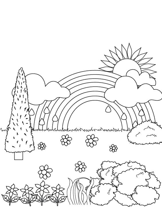 rainbow in the garden coloring pages gardens to color or