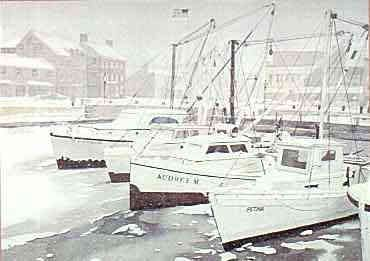Art Misty Harborprint By Linda Roberts Annapolis Harbor Snow LR Watercolor Giclees