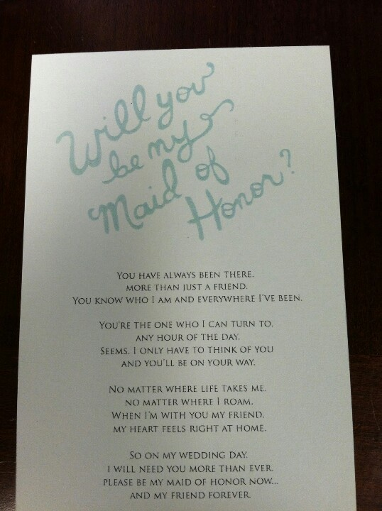 Maid of honor ask wedding ideas Pinterest Cute notes